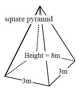 Find the surface area and the volume of the pyramid given
