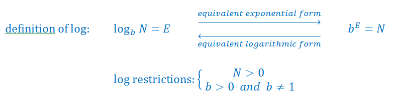 Converting from logarithmic form to exponential form
