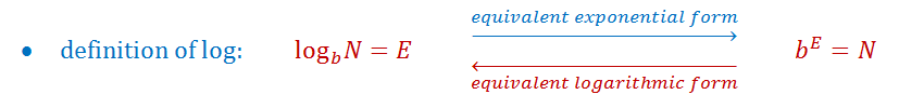 converting between exponential form and logarithmic form