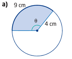 Using arc length and radius to calculate angle in radian