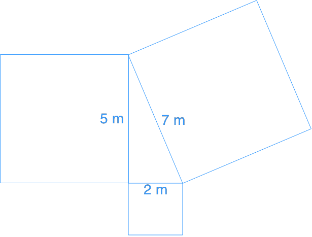 using pythagorean theorem to find area of square