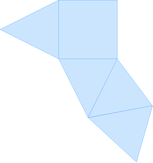 draw the 3d object from its net: rectangular pyramid