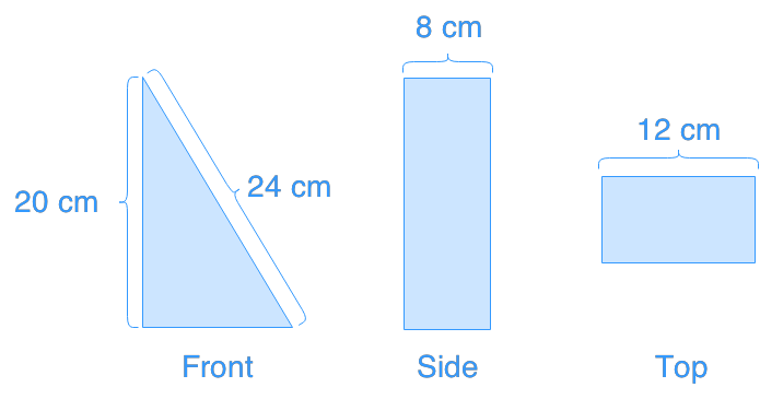 determine surface area of triangular prisms from different views