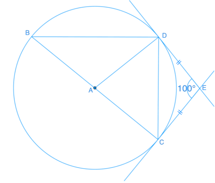 Tangent properties and angles in a circle