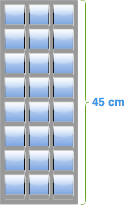 The scale for the image of a building
