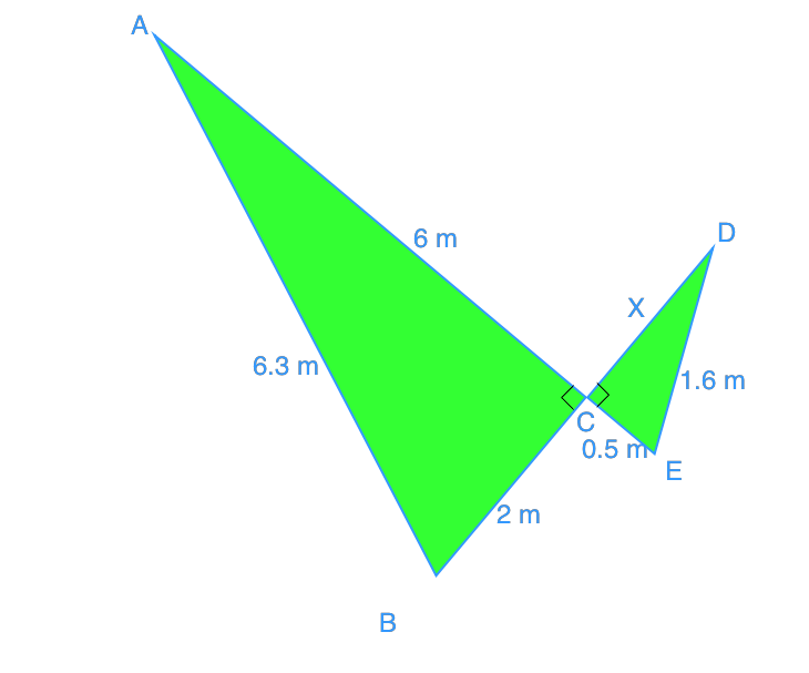 find missing side length for similar triangles