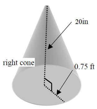 finding surface area and volume of a cone
