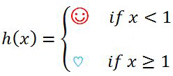 piecewise function h(x)