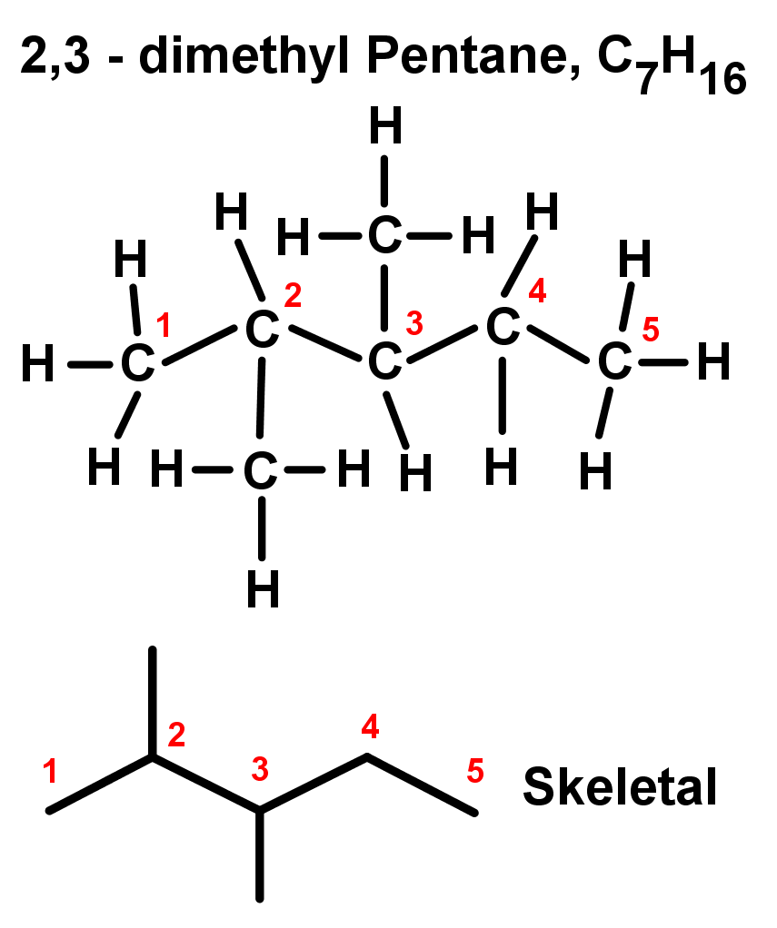2,3 - dimethyl Pentane, C7H16
