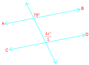 Parallel line proofs: solve unknown by applying corresponding angles theorem