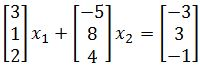 vector equation and system of equations