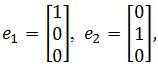 standard matrix of T, e1= [1 0 0], e2= [0 1 0]