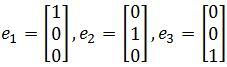 r^3 standard basis e1, e2, e3