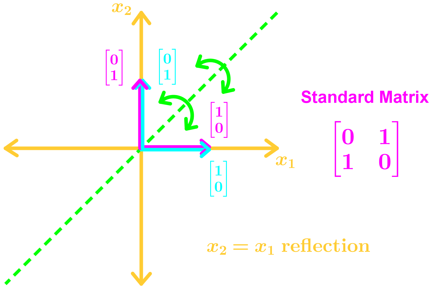 x2=x1 reflection