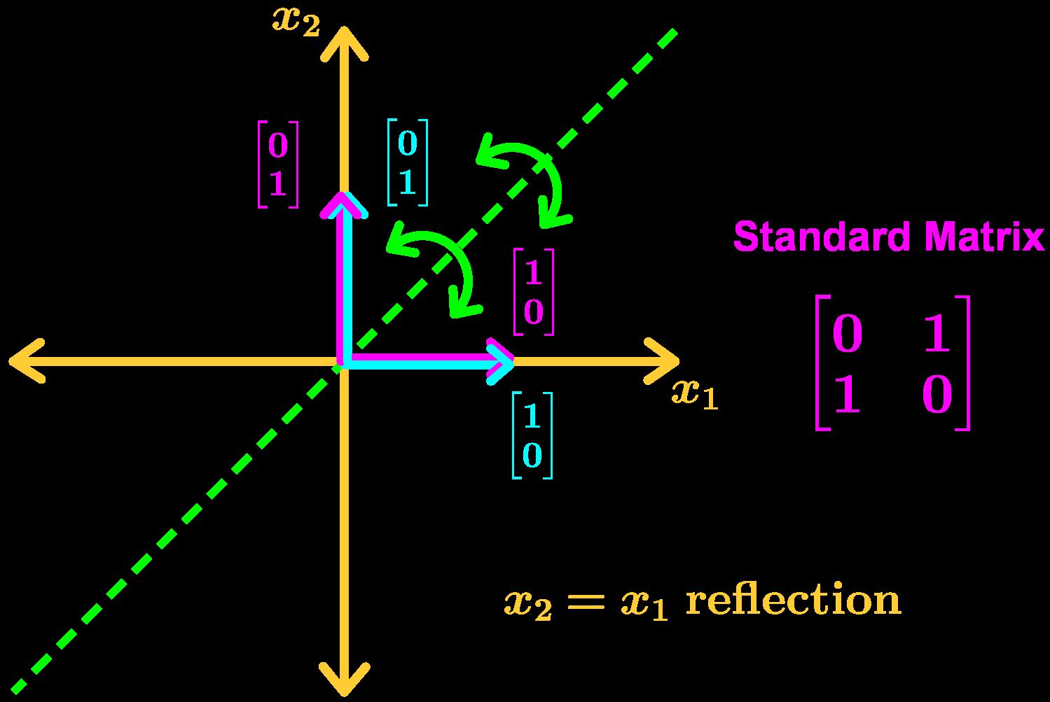 x2=x1 reflection