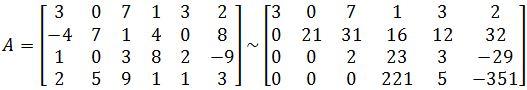 matrix A, and its echelon form