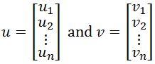 vector u and vector v