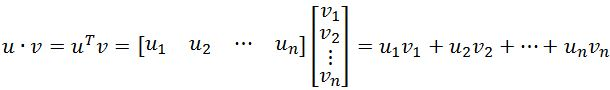 inner product of vector u and vector v
