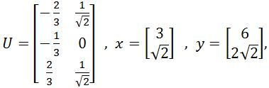 Matrix U, x, and y