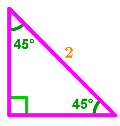 45-45-90 right triangle, Hypotenuse equals 2