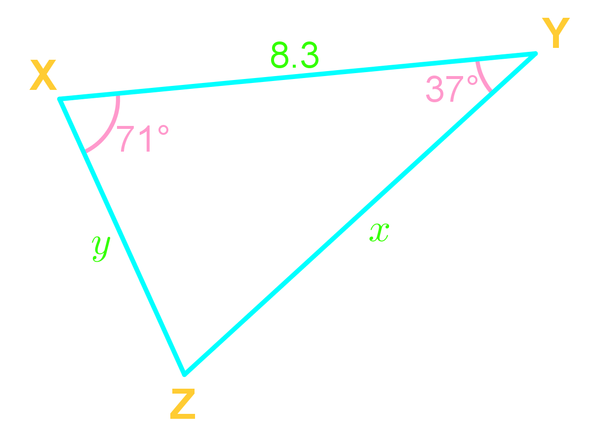 law of sines and side lengths of triangles