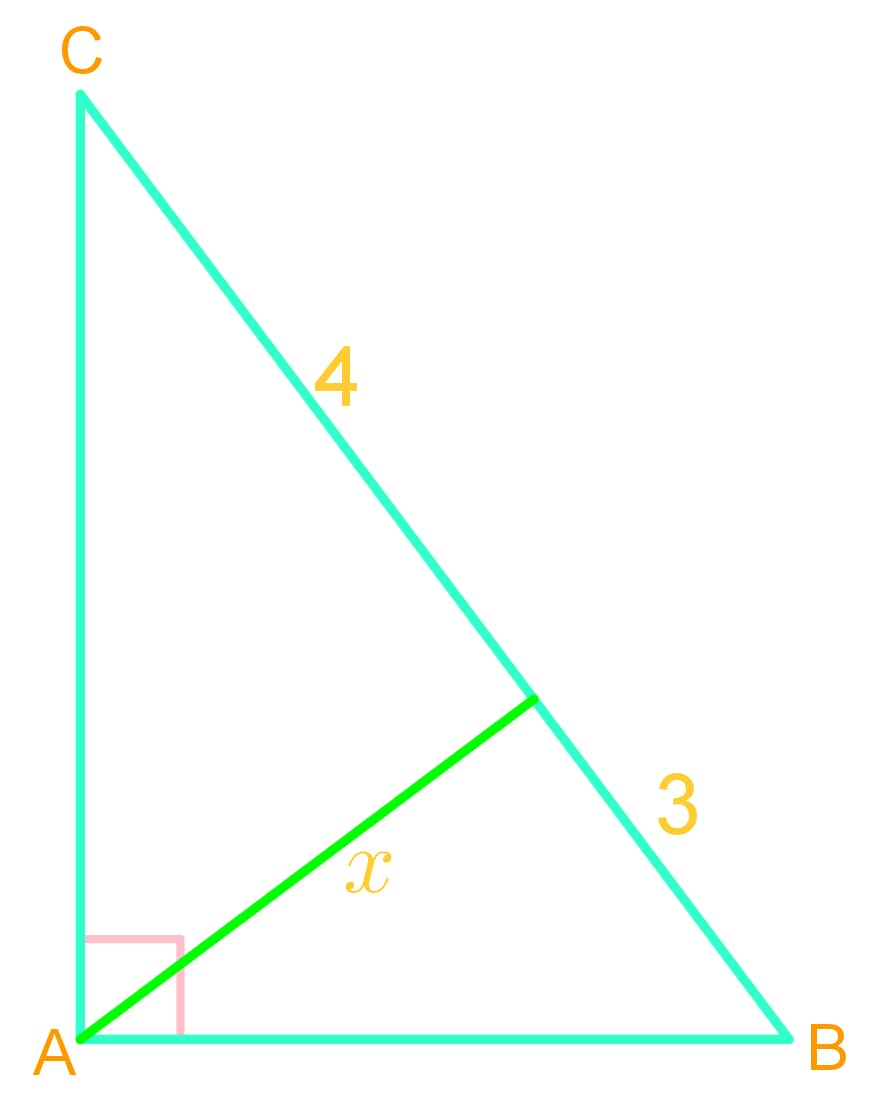 Applying geometric mean to solve unknown in triangles