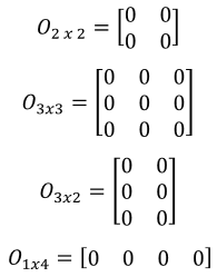 different kinds of zero matrix