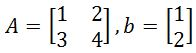 Solving linear systems using 2 x 2 inverse matrices