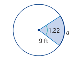 using angle in radian to calculate arc length of a circle