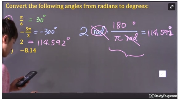 convert 2 radian to degree