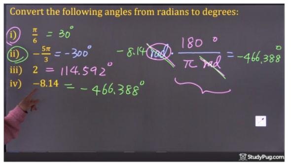 convert -8.14 radian to degree