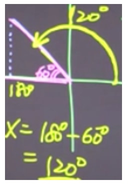Determine the angle in the second quadrant