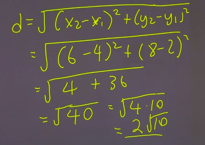 distance formula example