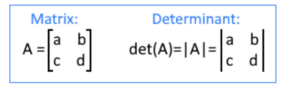 Equation 1: Difference between the notation of a matrix and a determinant