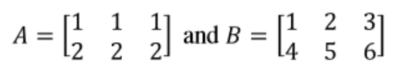 Equation 1: Matrices A and B