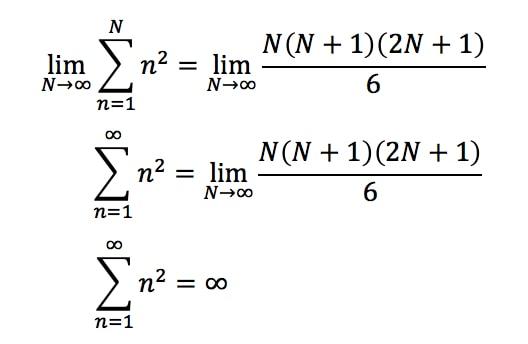 Equation 1: Power sum n^2 Divergent