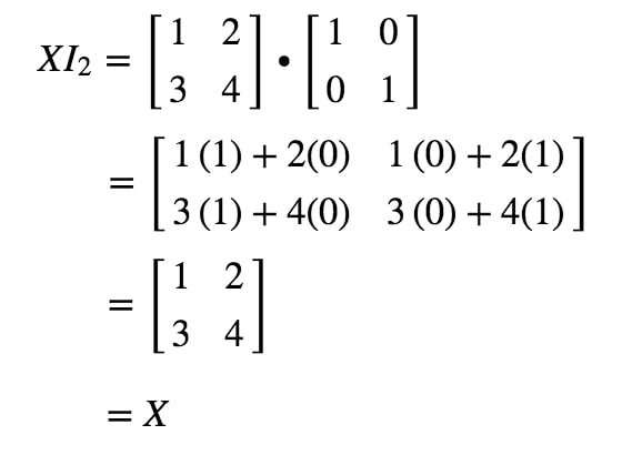 Equation 12: Matrix Multiplication for identity matrix example pt.2