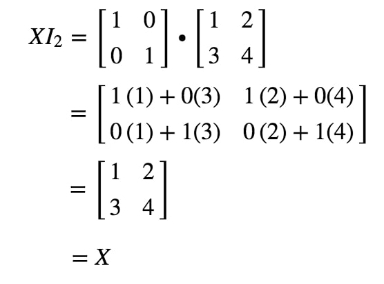 Equation 12: Matrix Multiplication for identity matrix example pt.3