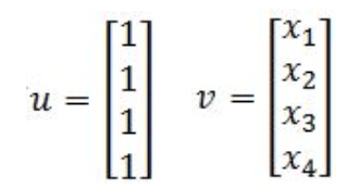 Equation 13: Column vectors u and v