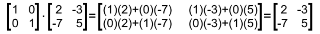 Equation 13: Multiplying a 2x2 identity matrix to another matrix of same order