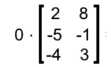 Equation 15: Scalar multiplication of a matrix by zero