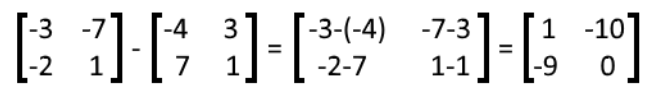 Equation 15: Solution for the subtraction of two matrices