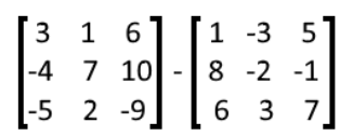 Equation 16: Subtraction of two matrices