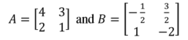 Equation 17: Matrices A and B