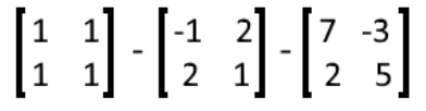 Equation 18: Subtraction of three matrices