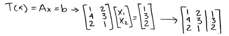 Equation 19: Matrix equation and corresponding augmented matrix