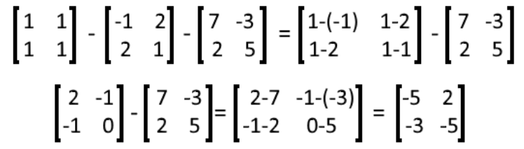 Equation 19: Solution to subtraction of three matrices