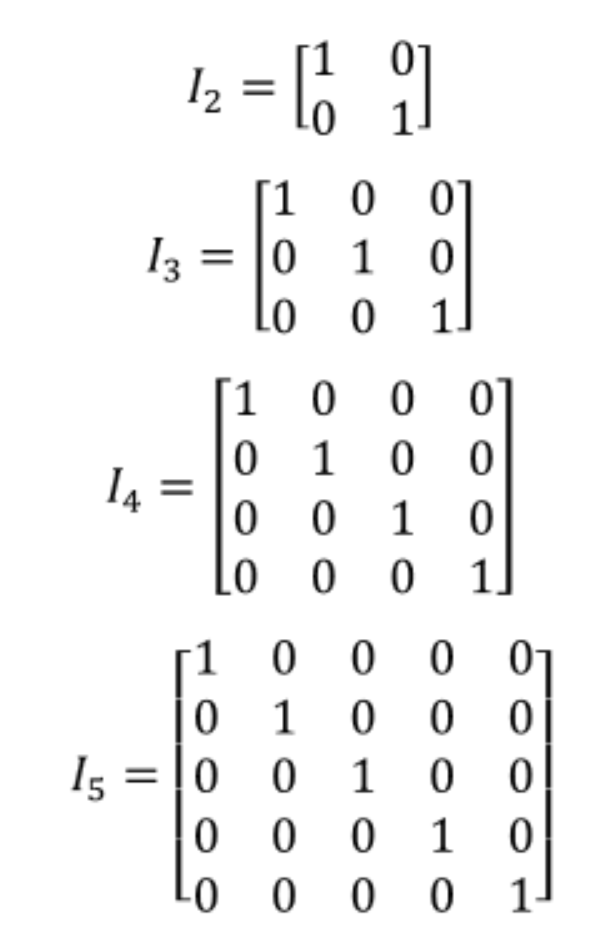 Equation 2: Examples of identity matrices of different dimensions