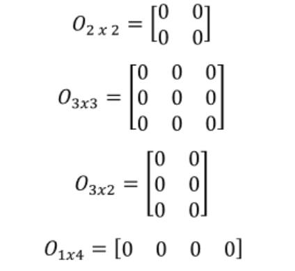 Equation 2: Examples of zero matrices in various sizes