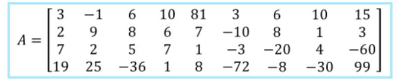 Equation 4: 4 x 9 Matrix